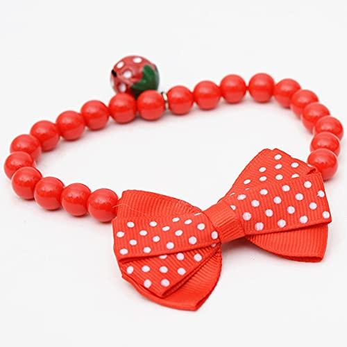 RayMinsino Collar de perla de fresa, collar de perlas para mascotas, pajarita de dibujos animados, collar de pajarita para mascotas (3.8-9.4 pulgadas)