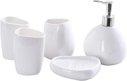 Set De Ba/ño Accesorios: Jabonera Porta Cepillo y Vaso Homevibes Accesorios De Ba/ño Set Completo De Ceramica De 4 Piezas Dise/ño De Calidad Blanco Dispensador De Jabon