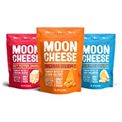 NUTRITIOUS - 100% natural, totally real cheddar, pepper jack and gouda cheese snacks that are high in bone-building calcium LOW CARB KETO FOOD - Moon Cheese is packed with up to 11g of protein punch; only 1g carbs CRUNCHY AND DELICIOUS - Rich, savory...