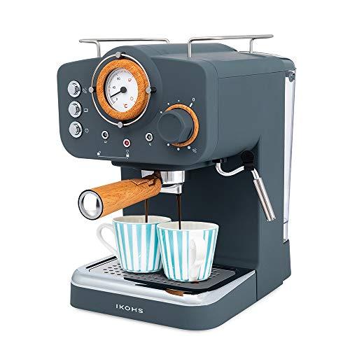 IKOHS THERA Retro - Cafetera Express para Espresso y Cappucino, 1100W, 15 Bares, Vaporizador Orientable, Capacidad 1.25l, Café Molido y Monodosis, con Doble Salida (Gris)
