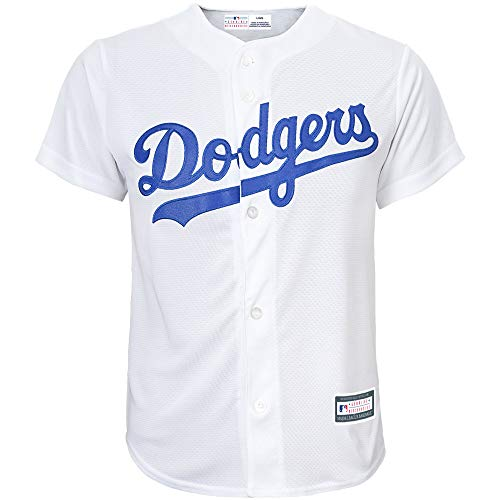 Outerstuff MLB 8-20 Youth Blank Cool Base Home Color Team Jersey (Large 14/16, Los Angeles Dodgers)