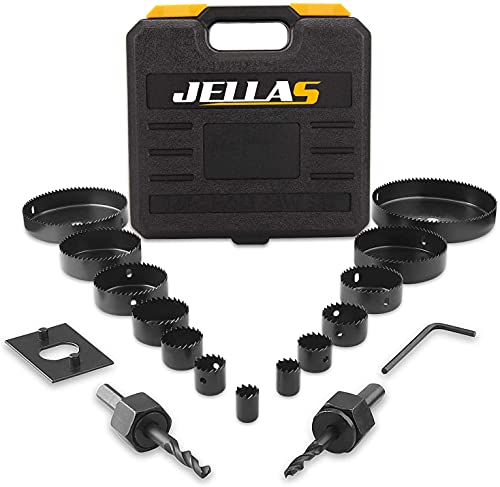 Hole Saw Set, Jellas 18PCS Hole Saw Kit with 14Pcs Saw Blades, Max Size 5