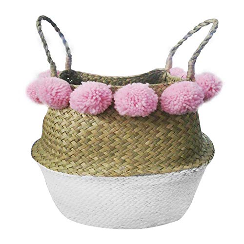 SZETOSY Aufbewahrungskorb aus natürlichem Seegras - Bommelkorb mit Griffen, faltbar, gewebter Korb mit Bommel, Spielzeug oder Pflanzgefäße, Kinderzimmer, 36 x 32 cm, Weiß Basket&pink Pom Pom