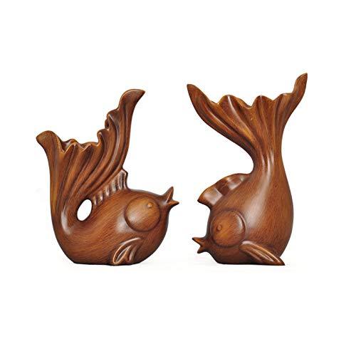 Decoración de escritorio Feng shui pescado carpa figura pescado estatuas de riqueza afortunado figurilla decoración de la oficina decoración de oficina adornos de mesa buenos regalos de afortunado Sop