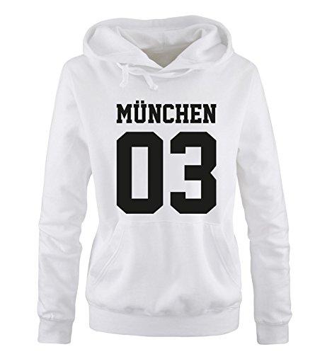 Comedy Shirts MÜNCHEN 03 - Damen Hoodie - Weiss / Schwarz Gr. S