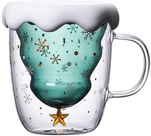 AAZX Doble Vidrio Taza de café del árbol de Navidad de Vidrio Aislante, Adecuado para café con Leche, café Americano, Capuchino, Bolsas de té, Las Bebidas,Christmas Tree