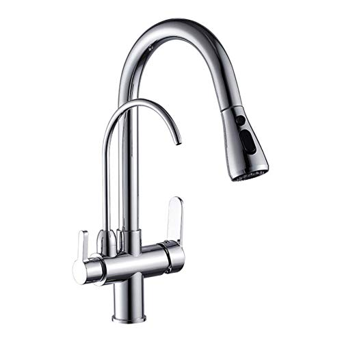 BOAOTX Grifo de cocina cromado de 3 vías, con ducha extraíble, giratorio 360°, para sistema de filtro, filtro de agua, grifo para fregadero de cocina, 2 palancas 4 en 1