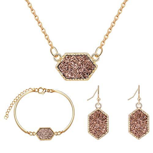 MissNity Faux Druzy Jewelry Set Drusy Necklace Dangle Earring Bracelet Set 14K Gold Plated...