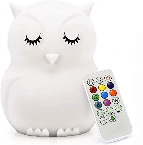 Nachtlicht für Kinder, wiederaufladbare USB-Kinderzimmerlampe, 9 farbwechselnde Baby-Nachtlichter, LED-Lichter, Augenpflege, fern- und berührungseinstellbare Helligkeit - Eule