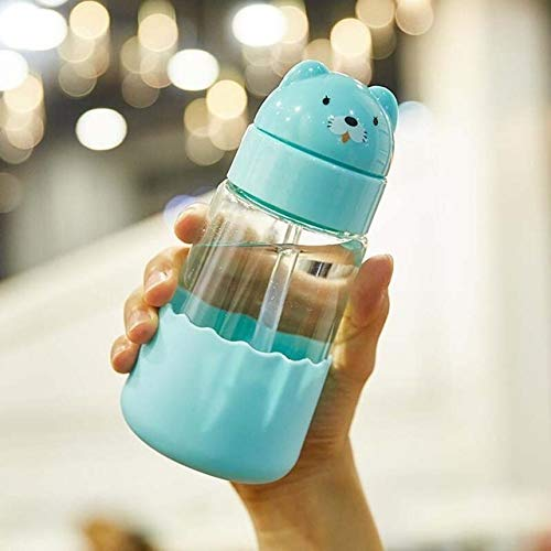 Stylish and beautiful 320ml Baby Cartoon Animal Dinosaur Glass Drinking Water Straw Cup Straw Sippy Cup With Hand Strap and Silicone Cover Unisex (Color : Sky Blue Bear)