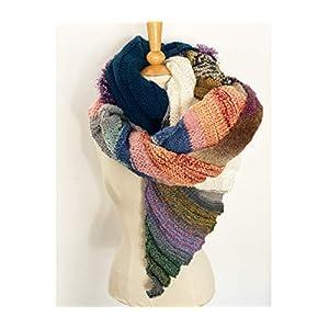 Ausgefallener Unikat Strick-Schal, bunt, aus verschiedensten Garnen handgestrickt