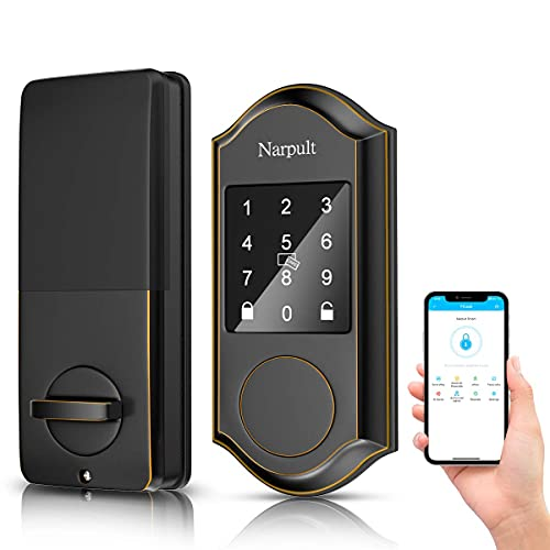 Narpult Smart Lock Electronic Deadbolt, Keyless Entry Door Lock with Wi-Fi and Bluetooth, Compatible with Alexa - No Fingerpint, Bronze ORB…