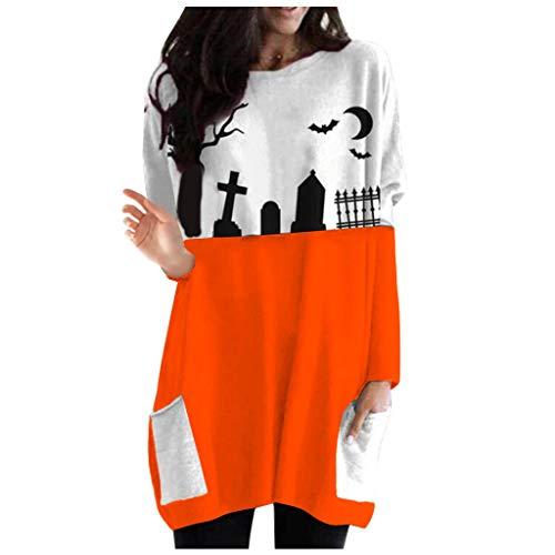 EUCoo Sudadera de manga larga con estampado de Halloween para mujer