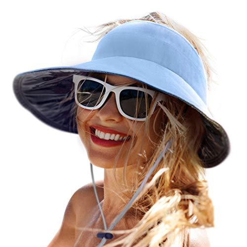 Chapéu de sol feminino com aba larga FPS 50+ para verão e praia, Azul, tamanho �nico