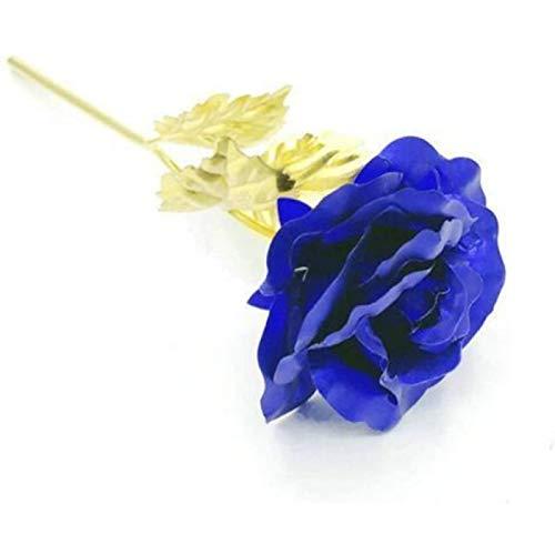 ZHANG Regalo Creativo del Día de San Valentín 24k Chapado en Oro Rosa Dura para Siempre Amor Decoración de Boda Recuerdo,Blue
