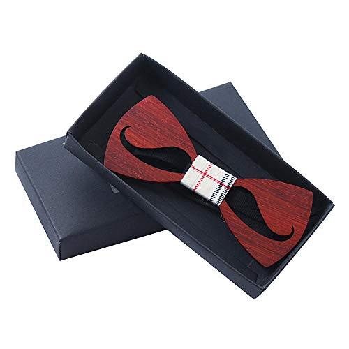 Hinleise Fliege mit Karomuster für Damen und Herren, Holzschleife, klassischer Stil, Hochzeitsaccessoire, geschnitzt, # C, 1 Stück