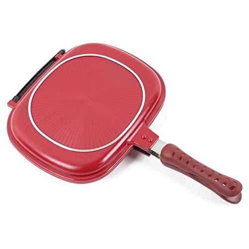 ZXL Non-stick barbecue dubbelzijdig koekenpan kookgereedschap, stabiel en duurzaam, geschikt voor huishoudelijke outdoor barbecue kookpan, Rode Wijn, 28 cm