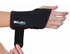 black color Small/Medium size Sold in each The Mueller Green Fitted Wrist Brace provides support to weak or injured wrists, aiding in the treatment of carpal tunnel syndrome and rheumatoid arthritis This wrist brace features adjustable straps and sli...