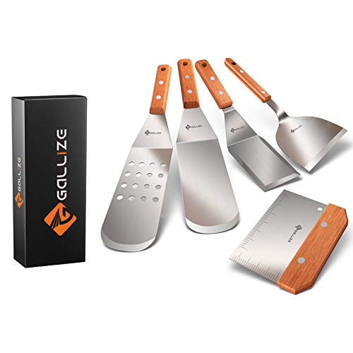 G Gallize Metal Spatula for Blackstone Griddle - Grilling Accessories Set of 5 High Grade Stainless Steel Grill Spatulas for BBQ and Cooking with Improved Quality Wooden Handles