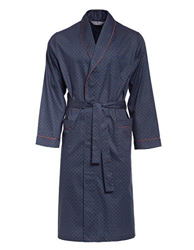 Revise Guido RE-504 - Elegante bata para hombre (100% algodón) Azul oscuro con puntos naranjas. XXX-Large
