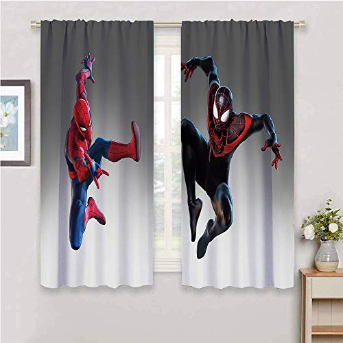 Zmcongz Kitchen Curtain Spider-Man Curtain Print Blackout Shades for Bedroom W42 x L63 Inch,Spider-Man