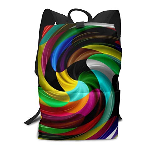 Unisex Backpack, Multi Colored Swirl Retro Art Design Abstract College Students Bookbags Travel Computer Notebooks Daypack School Outdoor Shoulder Bag Daypack