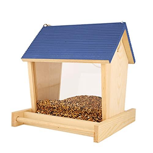 WZHH Alimentador para pájaros salvajes para colgar al aire libre, alimentador automático para pájaros, caja de comida para balcón, decoración de jardín, forma de casa a prueba de lluvia (color: azul)