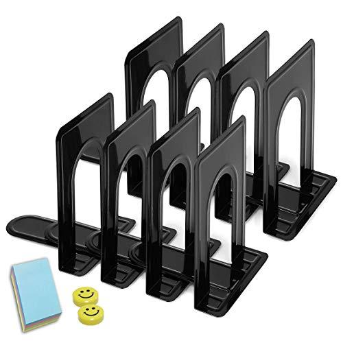 Qualsen Sujetalibros, Sujeta Libros, 8 unidades Sujetalibros metálicos Antideslizante, Negro, 17 x 12 x 15 cm