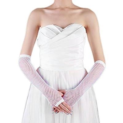 CMrtew Lady Disco Dance Costume Lace Fingerless Mesh Fishnet Gloves