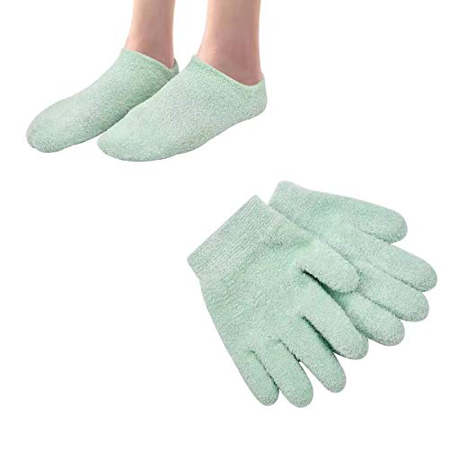 Moisturizing Socks Moisturizing Gloves Gel Gloves and Gel Socks for Dry Cracked Heels & Hands Spa Treatment, Gel Lining Infused with Essential Oils and Vitamins(Green)