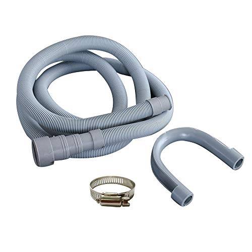 VisHomeYard 10ft Heavy-Duty Washing Machine Drain Hose With Clamp - Industrial Grade Polypropylene Discharge Hose for Washing Machines - Fits Up To 1-1/2 Inch Drain Outlets