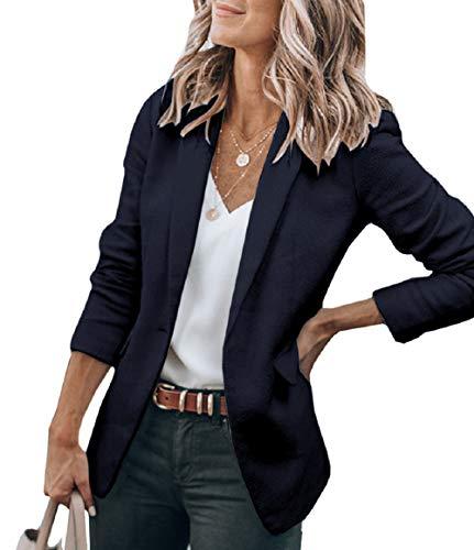 Womens Stripe 3/4 Sleeve Lightweight Office Work Suit Jacket Boyfriend Blazer (191 Black, XL)