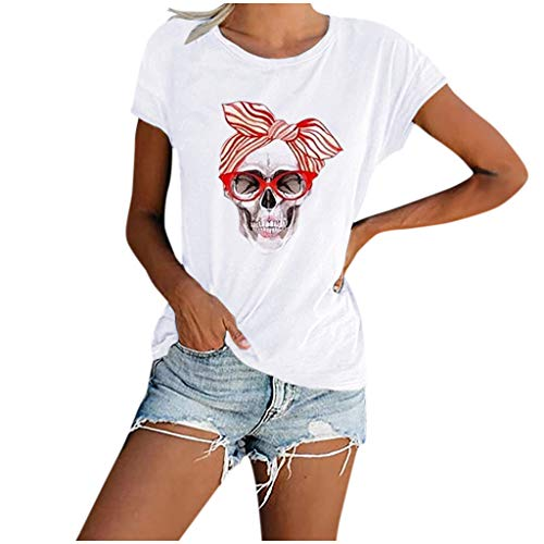 MOTOCO Damen Grafik T-Shirts Casual Kurzarm Rundhals Tops Stilvoll Bedruckte Bluse Oberteile(S.Weiß)