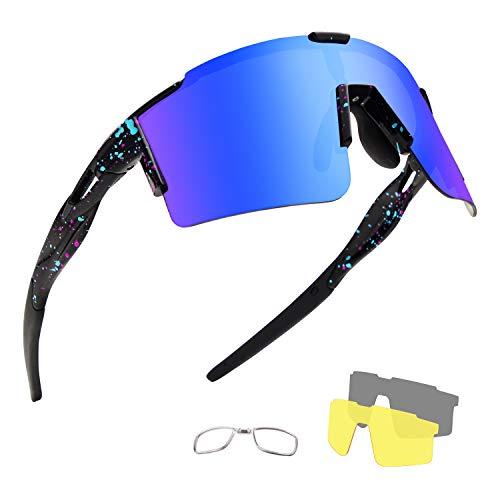 OULIQI Occhiali da Sole Ciclismo Polarizzati Sportivi per Uomo e Donna con 4 Lenti Colorati, Anti-UV 400 Uomini Donne Ciclismo Equitazione in Esecuzione Pesca Occhiali da per,Bici,Moto (Nero / blu)
