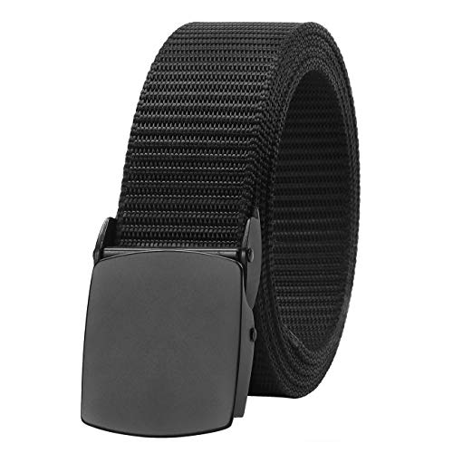 Nylon Belts for Men Black with Metal Buckle, SUOSDEY Tactical Outdoor Belt Military Style Adjustable 1.5''