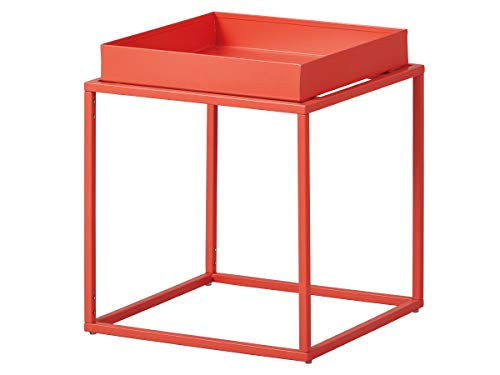 Inter Link Design Side Table Industrial Style Metal Orange Suitable for Indoor and Outdoor Use, 35 x 35 x 40 cm