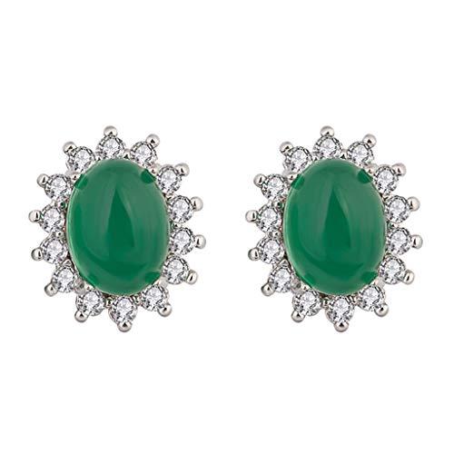 6Wcveuebuc Pendientes de tuerca para mujer, color verde, con diamantes de imitación, de metal y circonita, para mujer.