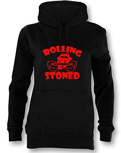 Angry Shirts Rolling Stoned - Damen Hoodie Schwarz - Rot in Größe XL