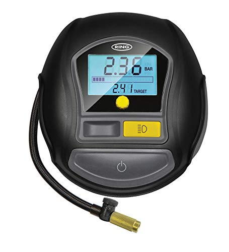 Ring Automotive Inflador de neumáticos Digital RTC1000 de Ring con configuración rápida de detención automática, con luz LED, Manguera de Aire: 70 cm