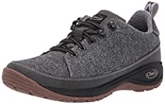 Dual woven textile upper with traditional lace system Protective synthetic leather toe cap, rand, and heel Polyester jacquard webbing pull tab Comfortable jersey knit lining Non- marking EcoTread light 15%- recycled rubber compound 3mm lug depth Remo...