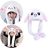 Rabbit Hat Ear Moving Easter Costume Hat Funny Bunny Plush Hat Cap for Women Girls White