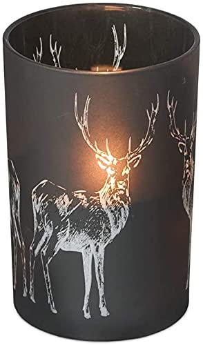 EDZARD Teelichthalter Hirsch, schwarzes Glas, Höhe 18 cm