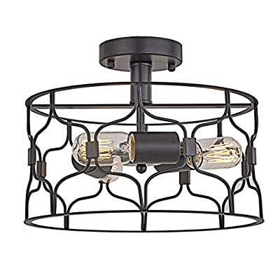 Topotdor Semi Flush Mount Ceiling Light,Industrial Vintage Metal Cage 3-Light Close to Ceiling Light Fixture Perfect Living Room Bedroom Kitchen Farmhouse Stairway Garage (Black)
