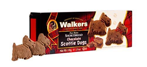 Walkers Shortbread Scottie Dog Shaped Chocolate Shortbread Cookies, 3.9 Ounce Box