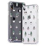 Idocolors Funda para iPhone 6/6S Lindo Cactus en Maceta Caso Antigolpes Ultra Fina TPU + PC Transparente Carcasa con Cojín de Esquina Parachoques Cover Case Anti-Caída