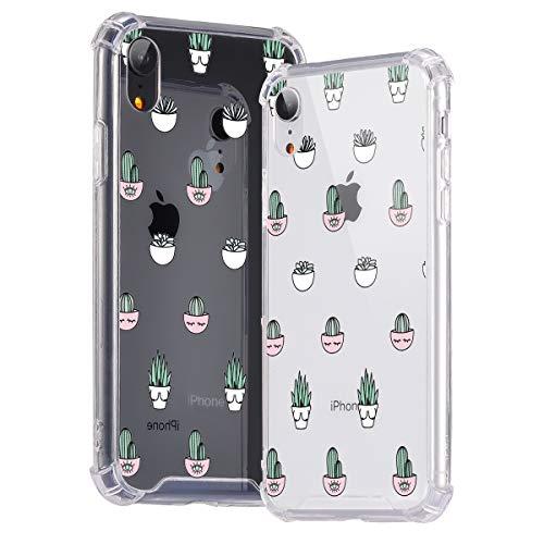 idocolors Cover per iPhone 6 / 6S Cactus Trasparente Custodia con Antiurto Cuscino d'Aria [Pannello Posteriore in Rigida PC + Angoli in TPU Morbido] Bumper Protettiva Silicone Case