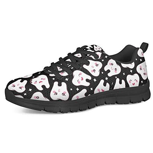 HUGS IDEA Zapatillas deportivas de malla para hombre y mujer, para correr, elásticas, ligeras, con dientes de perro, mariquita, perezoso, flor, Dientes Negro, 46 EU
