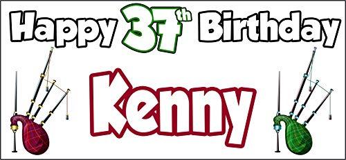 Cartel personalizable de 37 cumpleaños con diseño de gaitas escocesa de Escocia,...
