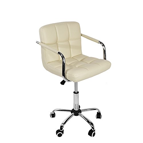Office Desk Chair PU Leather Cushioned Swivel Gas Lift 6 grids Stool Computer Desk With Arm Adjustable Height Home Office Armchair,Seat height adjustable: 470MM-620MM (Cream)