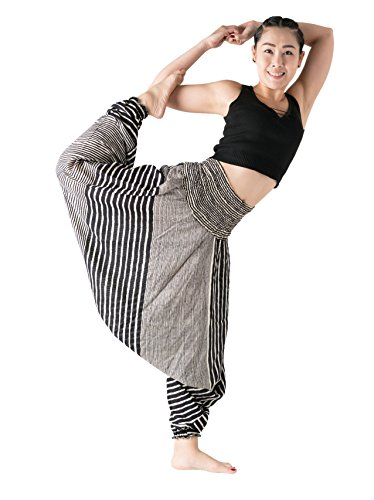 B BANGKOK PANTS Women's Harem Pants Hippie Bohemian Yoga Boho Clothing Pajamas Lounge Flowy Loose (Line Black, One Size)